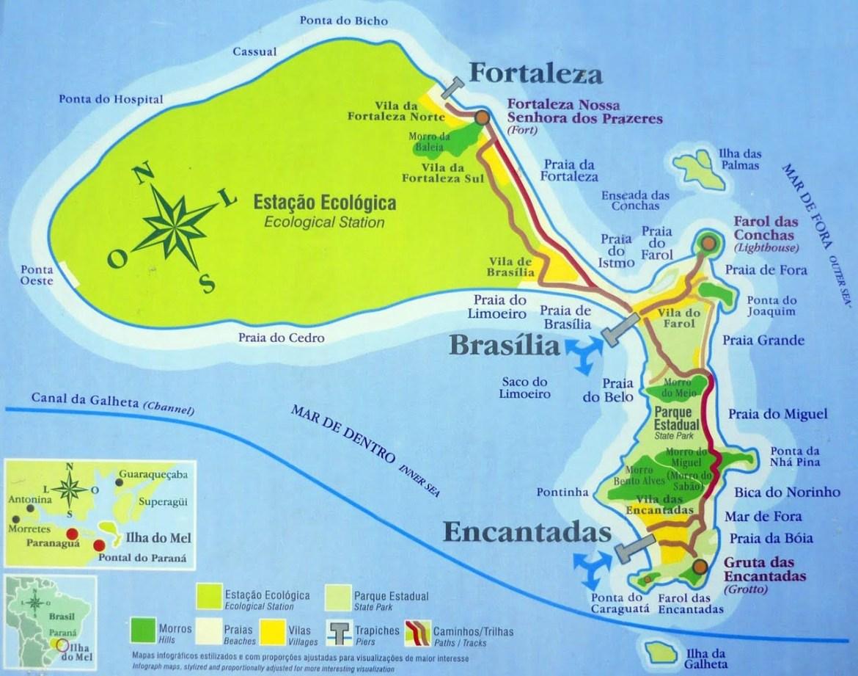 carte de l'ilha do mel, l'île du miel au au brésl