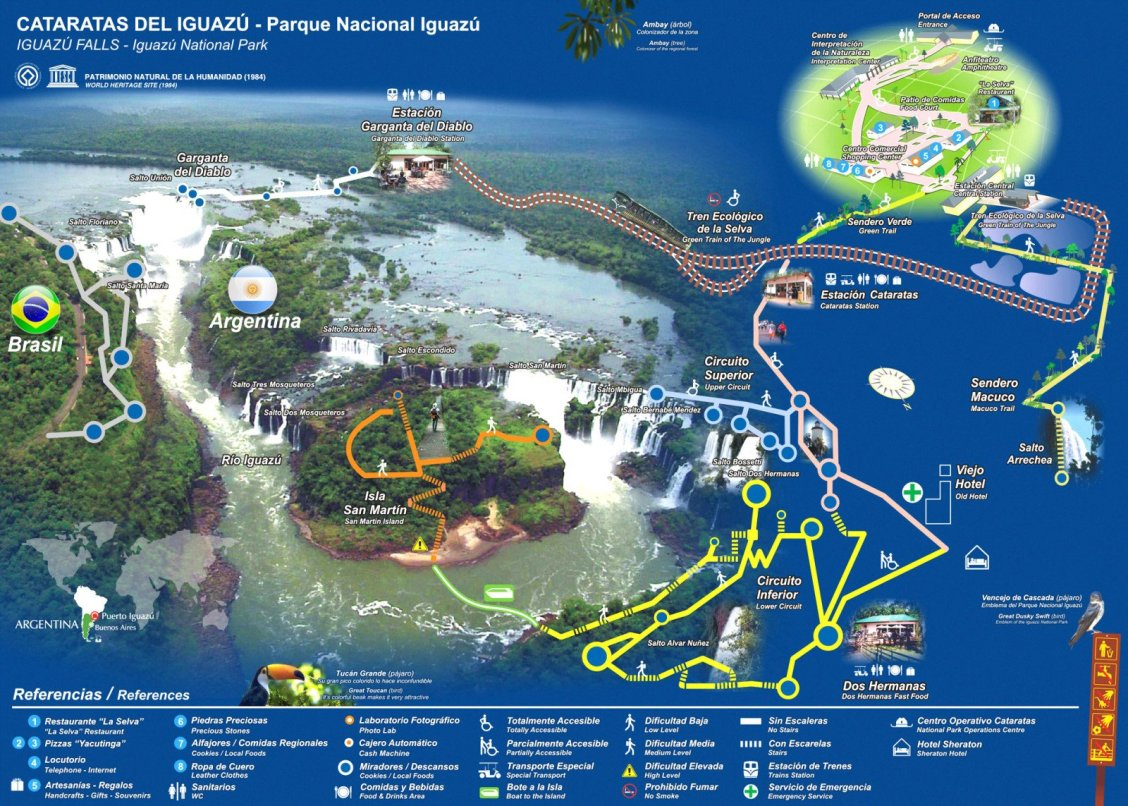 Carte des sentiers chutes d'iguazu côté Argentine et côté Brésil