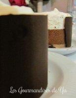 Duos de mousses chocolats, pâte de cookies et croquant chocolat noir