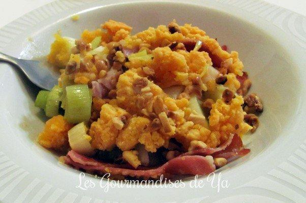 Crumble de poireaux au jambon et à la mimolette LGY