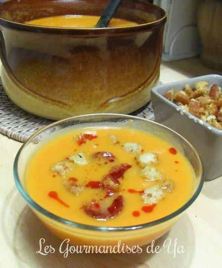 Velouté de courge, tomates-cerise et chorizo LGY