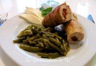 Saltimbocca de veau : mozzarella, tomates séchées et basilic et ses haricots verts
