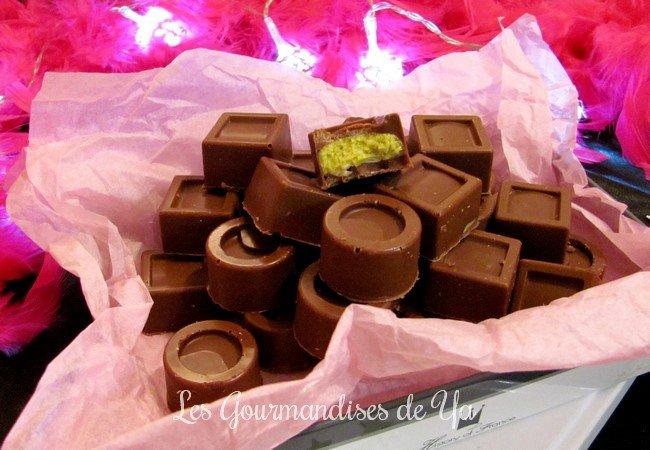 Bonbons chocolat au lait : pistache - amandes LGY