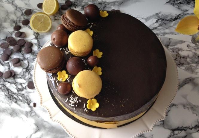 Entremets praliné, citron et chocolat LGY 02