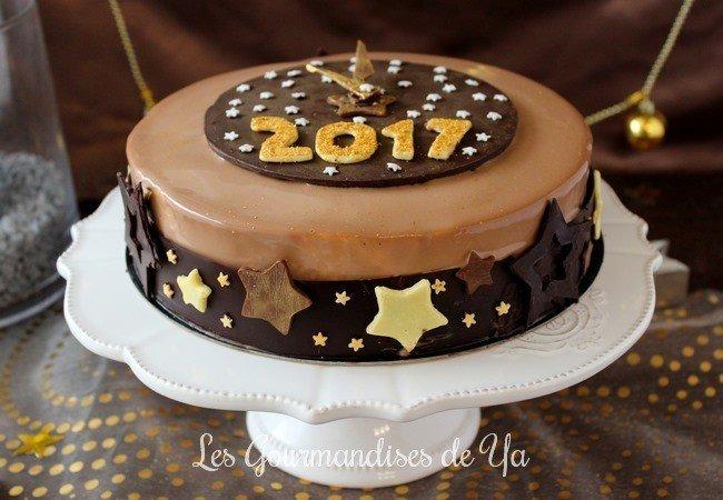 Entremets du Nouvel An : caramel beurre salé, mangue, passion et chocolat LGY 02