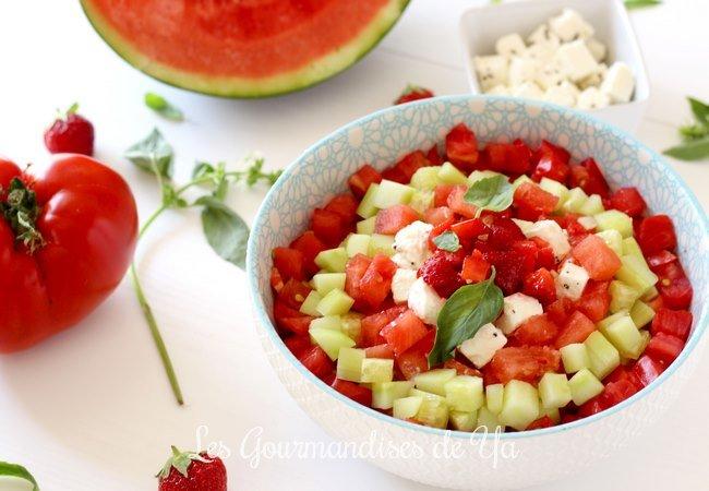 Salade de tomate, fraise, pastèque et concombre LGY