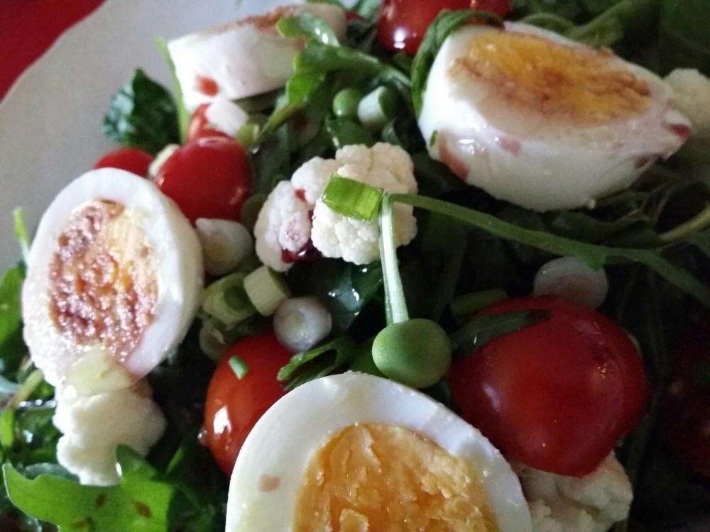 Salade de roquette et jeunes légumes.