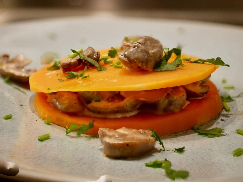 Ravioles de butternut aux champignons.