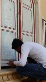 Restauration en cours dans le palais
