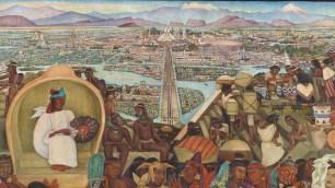 Cette fresque de Rivera représente Tenochtitlan, la cité aztèque à l'origine de Mexico