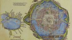 Plan de Tenochtitlan, construite sur le lac Texcoco