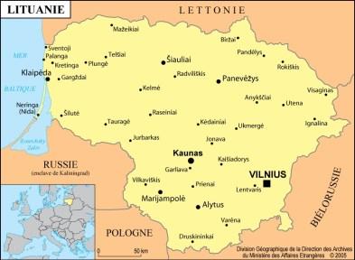 Lituanie-carte-de-Lituanie-Vilnius-Isthme-de-Courlande-bassin-du-Niémen-Kaliningrad-mer-Baltique-pays-limitrophes-Pologne-Biélorussie-Lettonie