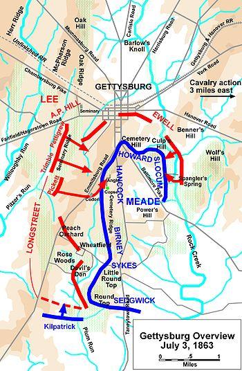 Carte des offensives de la Confédération en rouge et de l'Union en bleu lors de la journée du 3 juillet.