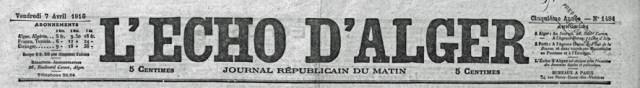 1916-04-07 Gravereaux, Jules - Décès (L'Écho d'Alger) - Titre journal_wp