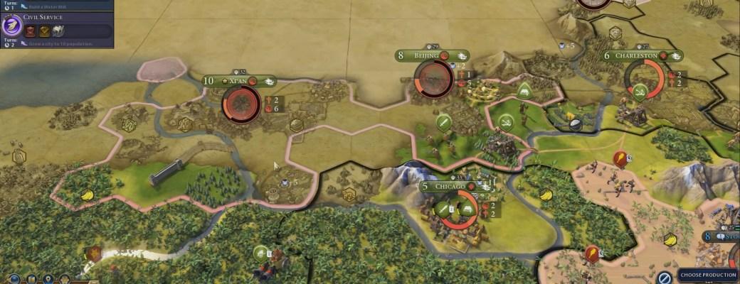 Civilization 6 — Внутри кружка виден красный радар показывающий религиозное давление