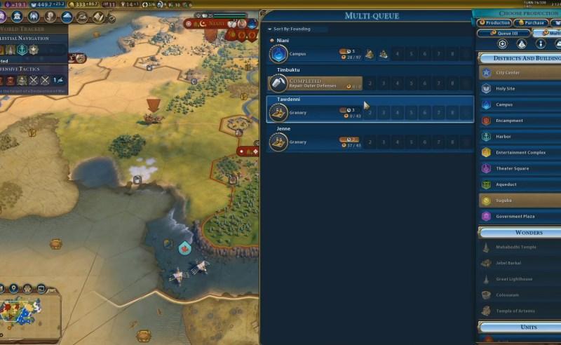 Civilization VI — Gathering Storm — Очередь строительства во всех городах империи
