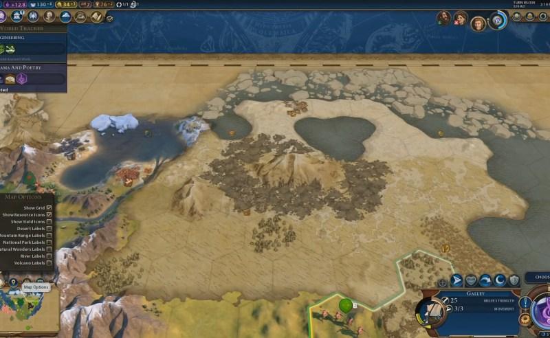 Civilization VI — Gathering Storm — Опции карты с названиями местности