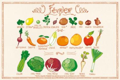 Calendrier fruits et legumes fevrier - Special belle peau en hiver