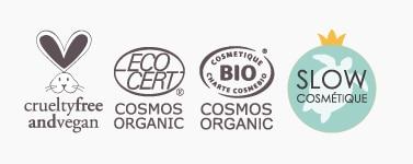 Logo Vegan & Cruelty free, logo Ecocert et Cosmos, mention slow cosmétique