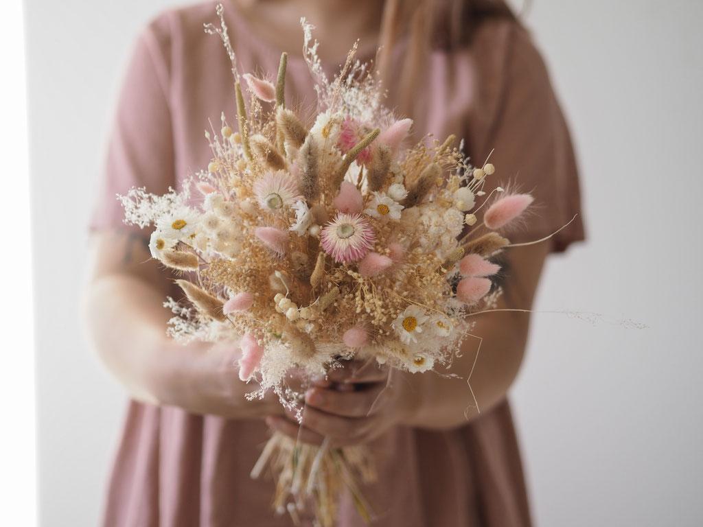 bouquet personnalisé grand rose fleurs sechees personnalisable customisable fleurs blé herbes sauvages fleuriste rennes