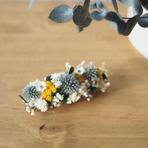 Grande barrette en fleurs séchées