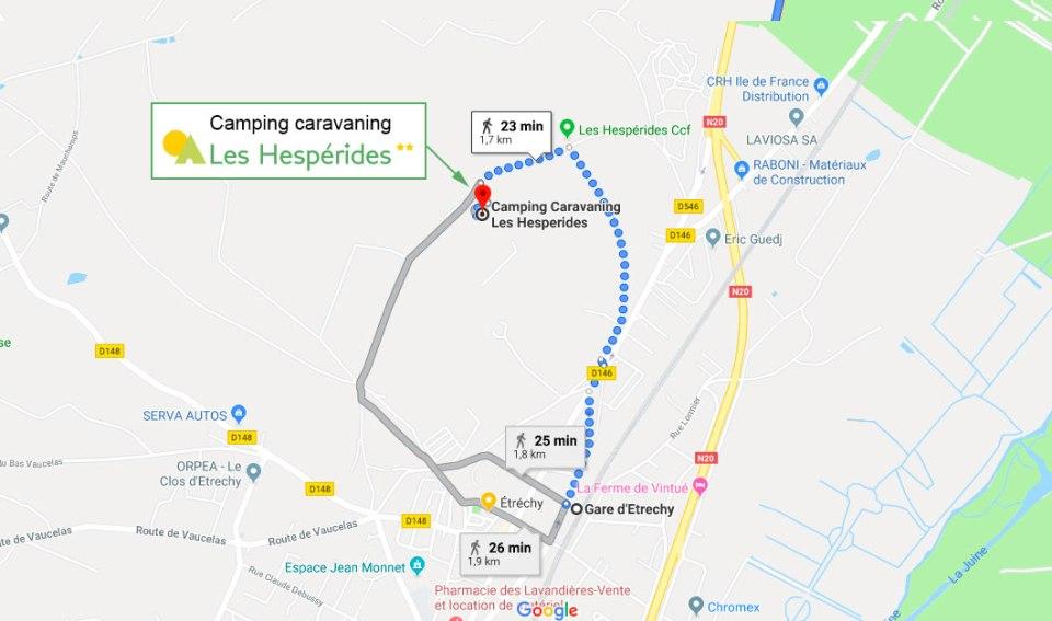 Plan d'accès par la gare d'Etrechy au Camping Caravaning Les Hespérides