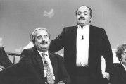 Avec Maurizio Costanzo (réalisateur italien), en 1991 (photo de synthèse - Archives Courier)