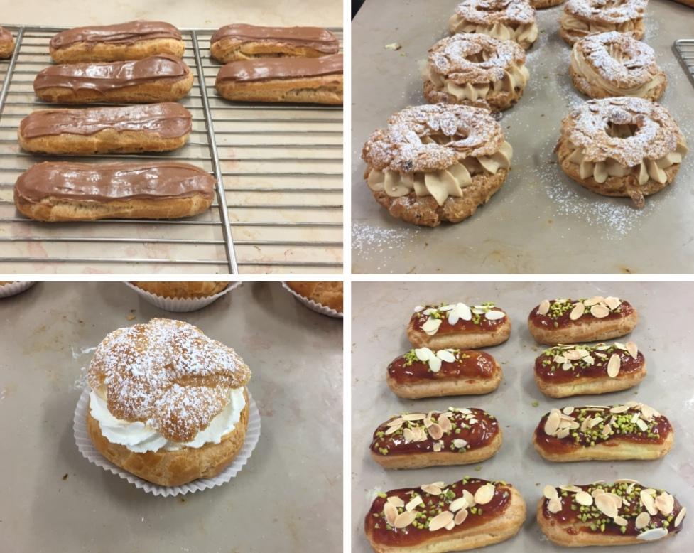 Recette CAP pâtissier, semaine 2: Éclairs chocolat + Éclairs vanille + Salambo + Choux chantilly + Paris-Brest - (dont pâte à choux, crème, caramel, sirop, fondent)
