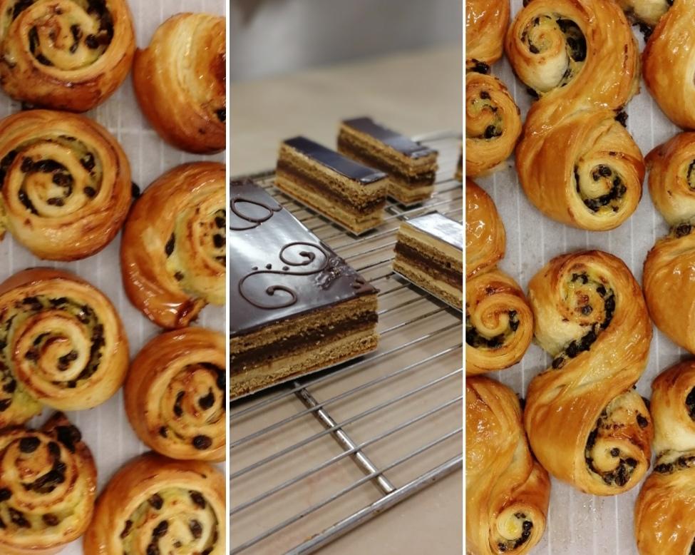 Recette CAP pâtissier, semaine 11 : Opéra + Pains aux raisins + Drops (dont biscuit Joconde et mousse au chocolat)