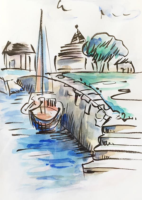 bateau-port-aquarelle-dessin