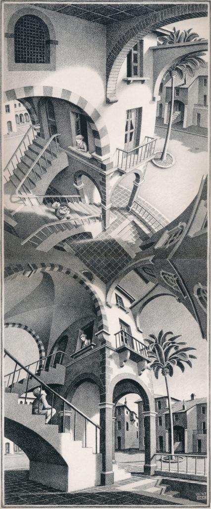escaliers d'Escher, perspective vue d'en haut, vue d'en bas dessin technique, architecture, palmiers