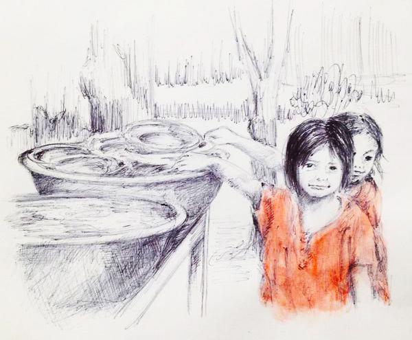 filles orphelines en Chine dessin au stylo bic, ombres et lumières avec des hachures