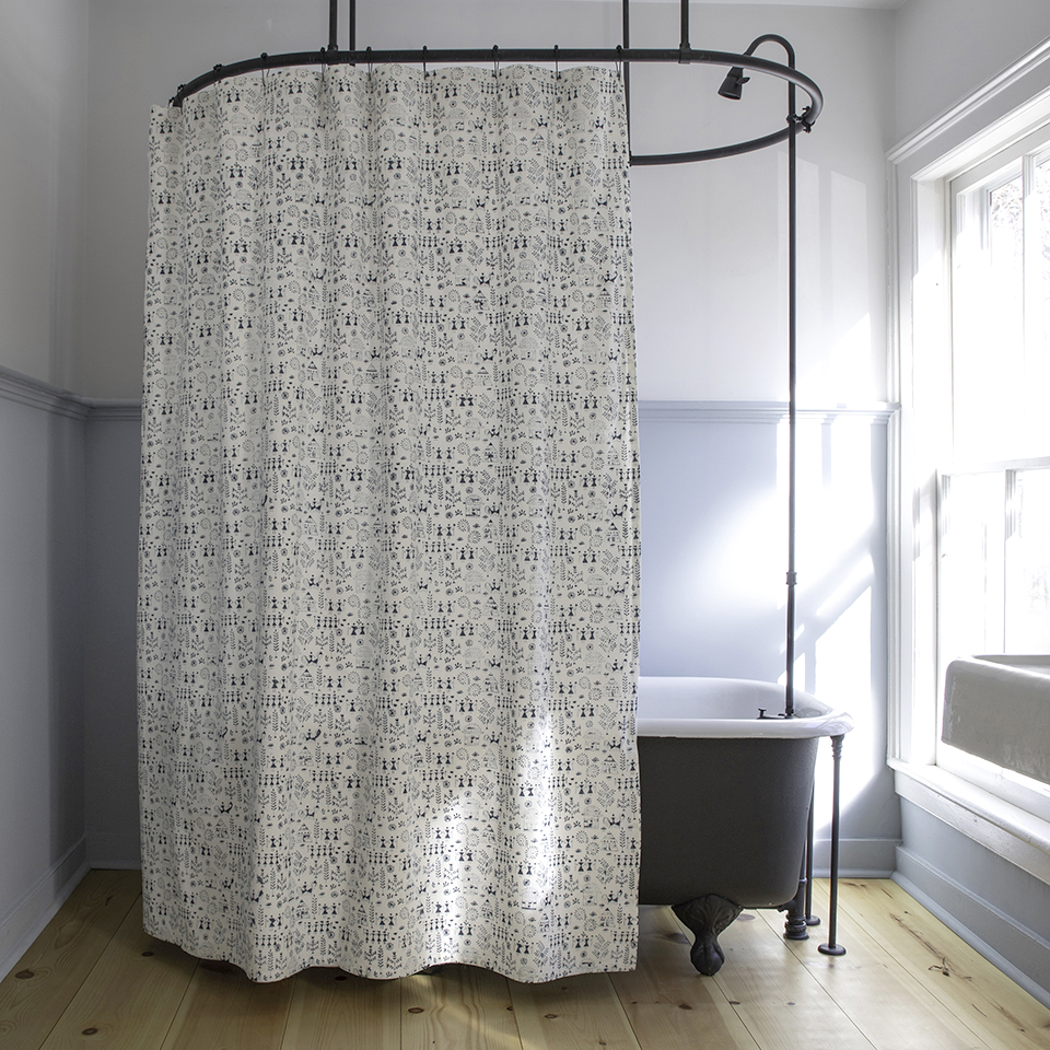 Tribal Shower Curtain In Indigo Les Indiennes