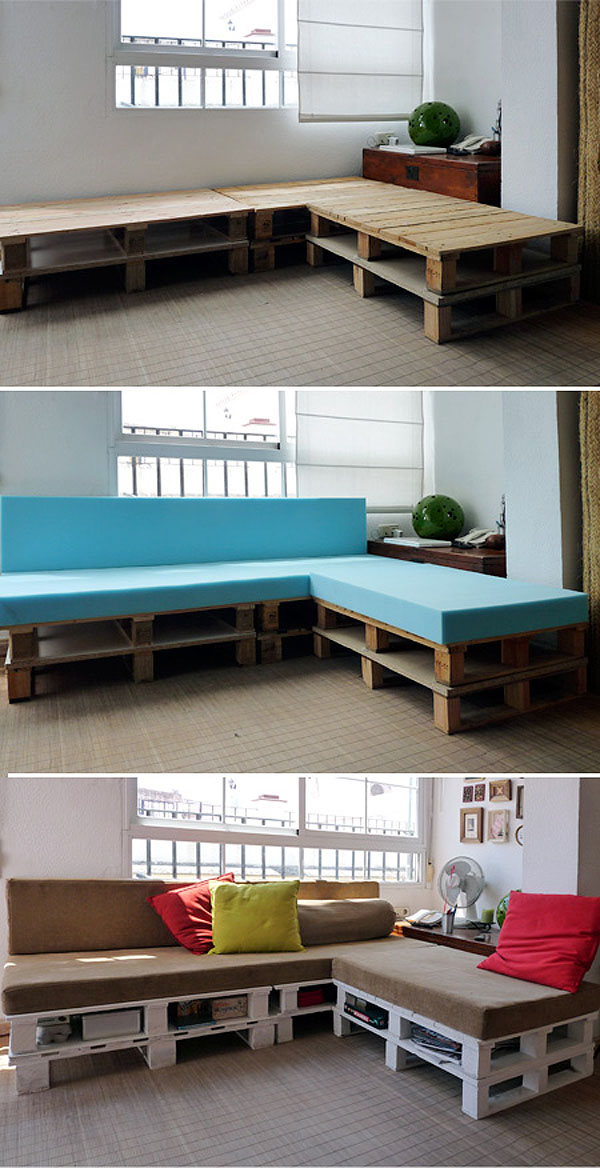 Palete kot kavč z vgrajenim prostorom za shranjevanje (vir: cuartoderecha)