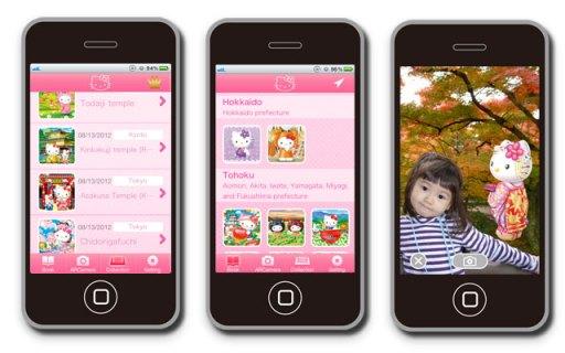 """Image application Hello Kitty """"visite guidé du Japon"""""""