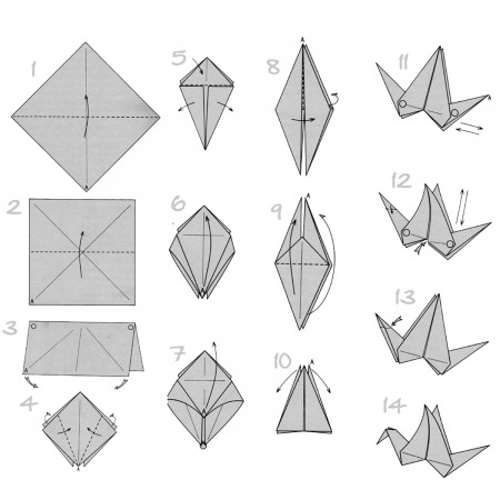 Faire une grue, origami, par http://doodlecraft.blogspot.com/