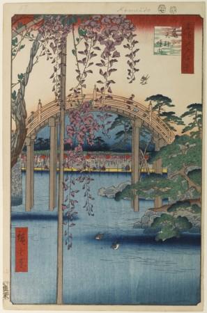 100 vues de Edo - Hiroshige - À l'intérieur du sanctuaire Kameido Tenjin