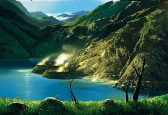 Princesse Mononoke, vue sur le lac et la ville de dame Eboshi, par Oga Kazuo.