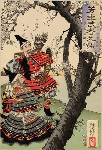 Sakura avec Benkei, par Yoshitoshi Tsukioka, 1885