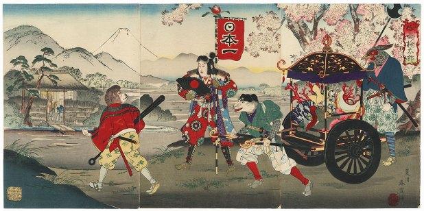 Momotaro Kuniyoshi Utagawa - le retour