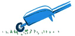 brouette bleu foncé