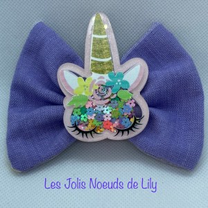 barrette noeud XL licorne