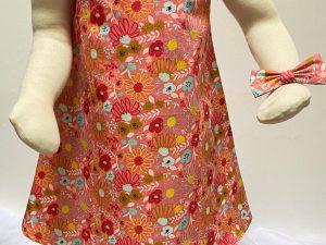 robe noeuds fleurs rose création fait main