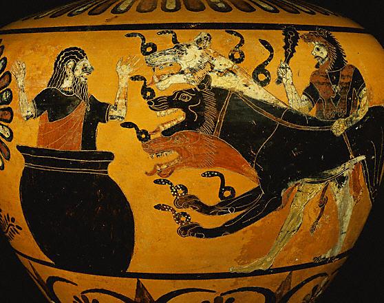 Eurysthée se cachant dans une jarre à la vue de Cerbère