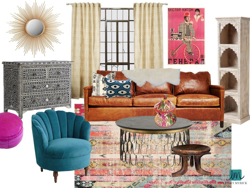 Silverlake Modern Bohemian Living Room - Lesley Myrick Art ... on Modern Bohemian Bedroom Decor  id=87157
