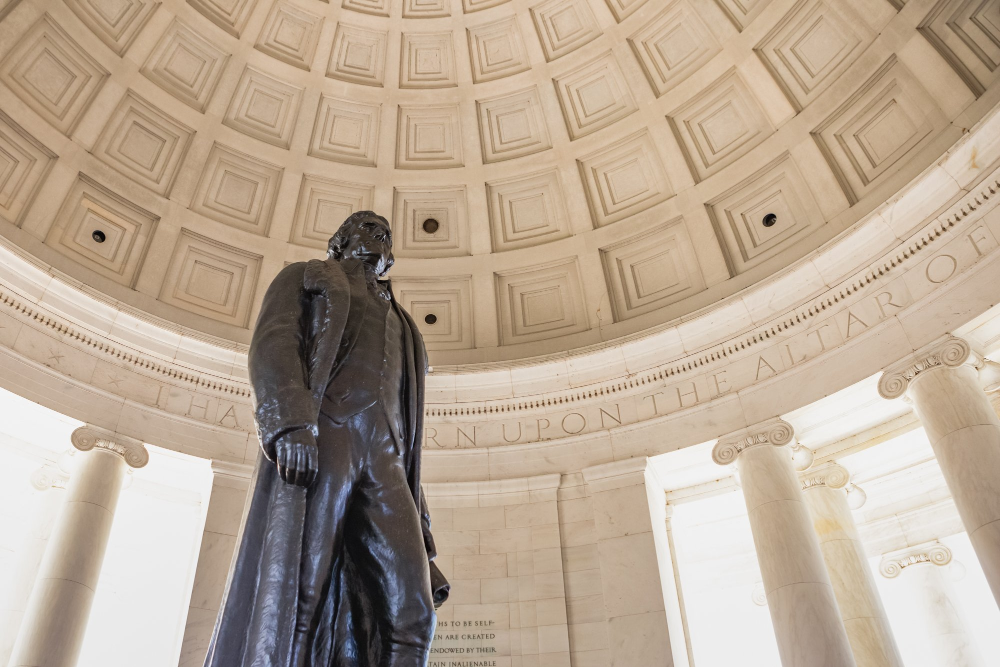Statue of President Thomas Jefferson, author of the Declaration of Independence, inside the Jefferson Memorial on the Tidal Basin in Washington,DC
