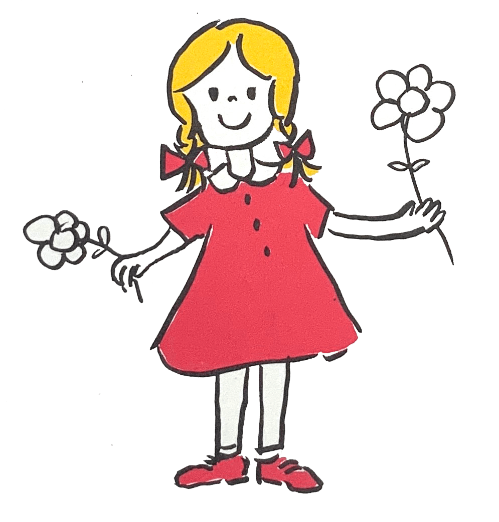 girl with flower and a link to email me