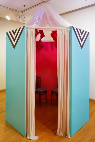 Shtetl (outside), 8' x 8' x 12', mixed media: wood, paint, fabric, felt, found chairs, and LED lights, 2014. Yenta, Wind Challenge Exhibition Series, Fleisher Art Memorial, Philadelphia, PA.