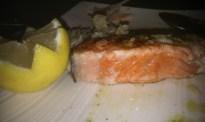 250g Canadian Wild Coho Salmon steak, center is 1/2 rare.