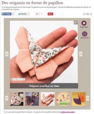 Papillon origami chez marie claire idées